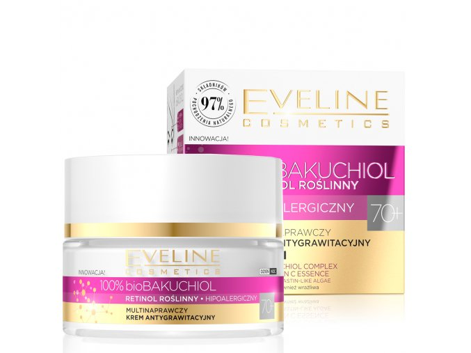 Eveline cosmetics bio BAKUCHIOL 70+ multi-opravný anti-gravitační krém 50 ml   evelio.cz