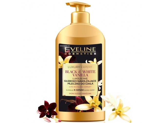 Eveline cosmetics Luxury Expert Luxusní výživné tělové mléko Black & White Vanilla 350 ml   evelio.cz