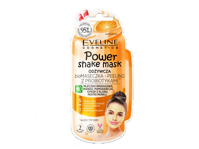 Eveline cosmetics Power Shake Mask Výživná BIO pleťová maska s probiotiky - pomeranč 10 ml | evelio.cz
