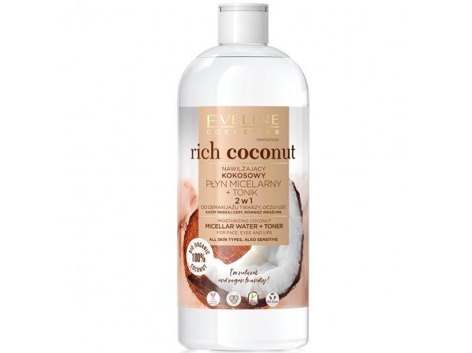 Eveline cosmetics Rich Coconut Hydratačná micelárna voda + tonikum 2v1 500 ml   evelio.cz