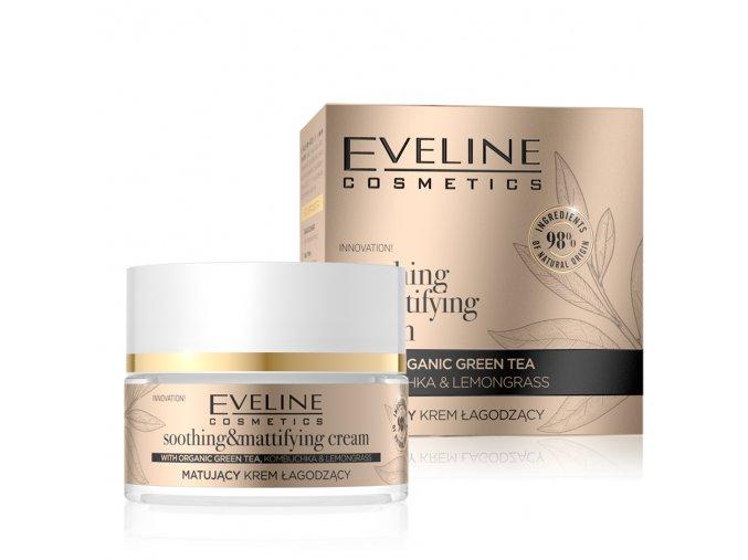 Eveline cosmetics ORGANIC GOLD Matující / zklidňující pleťový krém 50 ml   evelio.cz