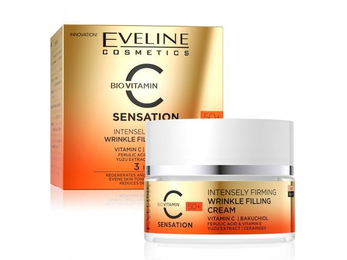 Eveline cosmetics C SENSATION 50+ intenzivně zpevňující krém na vyplnění vrásek s vitamínem C 50 ml   evelio.cz