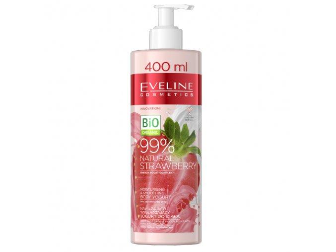 Eveline cosmetics Natural Jahoda Hydratační a vyhlazující tělový jogurt 400 ml | evelio.cz