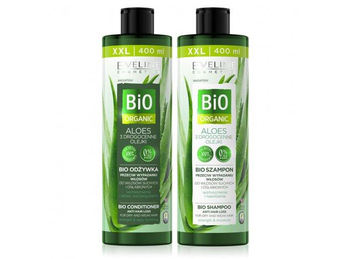 AKCE Eveline cosmetics bio ORGANIC Šampon + kondicionér pro suché a slabé vlasy | evelio.cz
