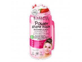 Eveline cosmetics Power Shake Mask Rozjasňující BIO pleťová maska s probiotiky - jahoda 10 ml | evelio.cz