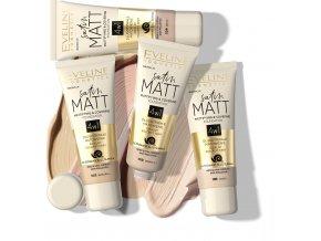 Eveline Cosmetics Satin Matt Matující - krycí podkladový make-up 30 ml