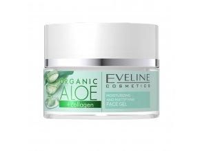 Eveline cosmetics ALOE + COLLAGEN hydratační a zmatňující pleťový krém - gel 50 ml