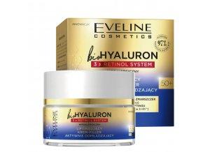 Eveline cosmetics bio HYALURON 3X RETINOL Aktivní omlazující liftingový pleťový krém 50+ den/noc 50 ml | evelio.cz
