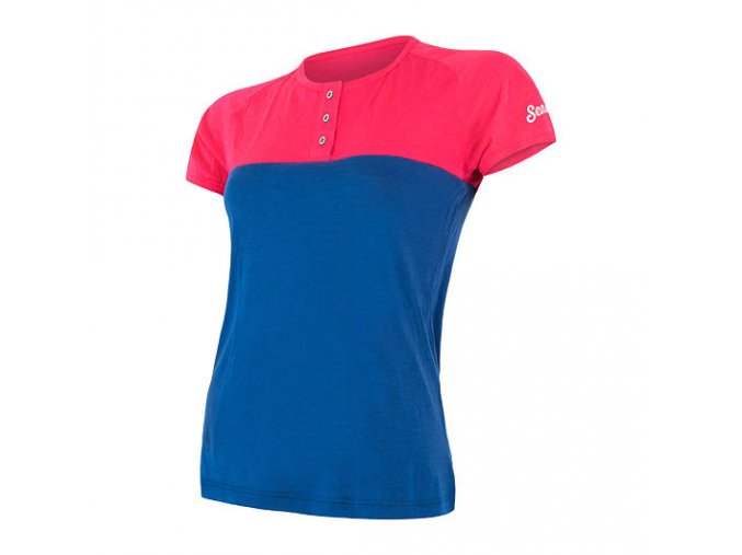 Sensor Merino air PT dámské triko kr. rukáv s knoflíky magenta modrá
