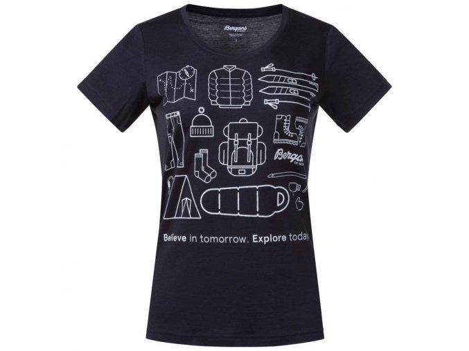 Bergans Graphic Wool W Tee dámské merino triko krátký rukáv Dark Navy / White