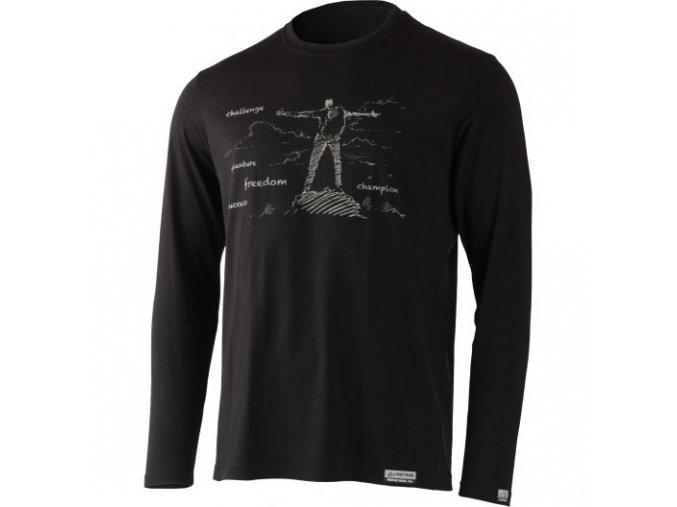 lasting panske merino triko s tiskem freedom cerne