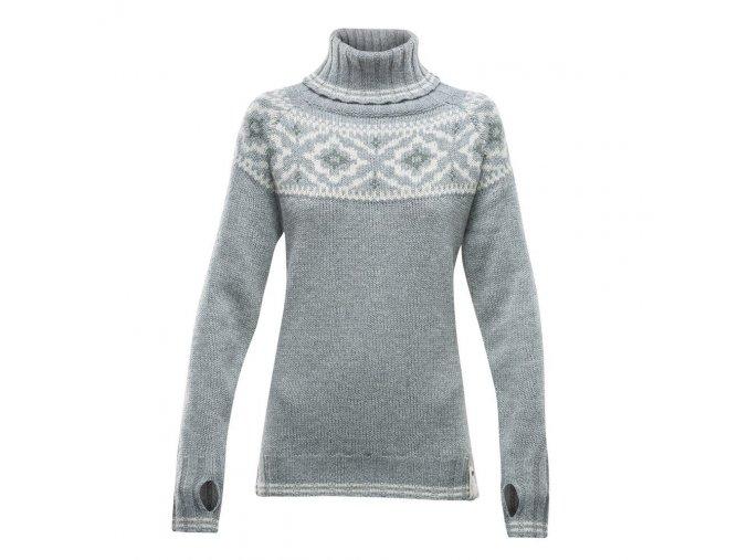 Devold Ona Woman Round Sweater Grey melange vlněný svetr dámský