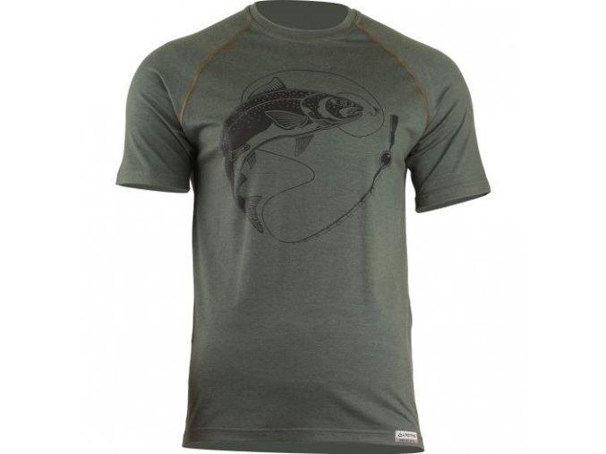 lasting panske merino triko s tiskem salmon zelene