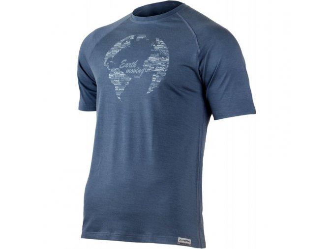 lasting panske merino triko s tiskem earth modre