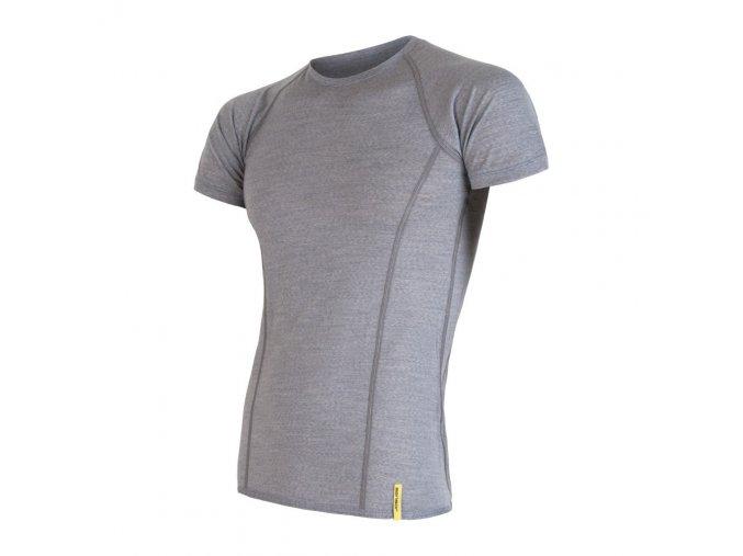 Sensor merino active pánské triko krátký rukáv rukáv šedé