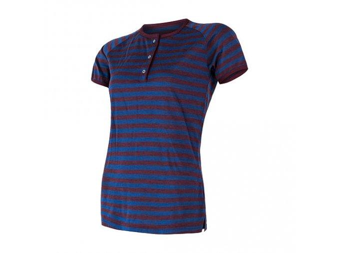 Sensor merino air dámské triko s knoflíky modrá / vínová