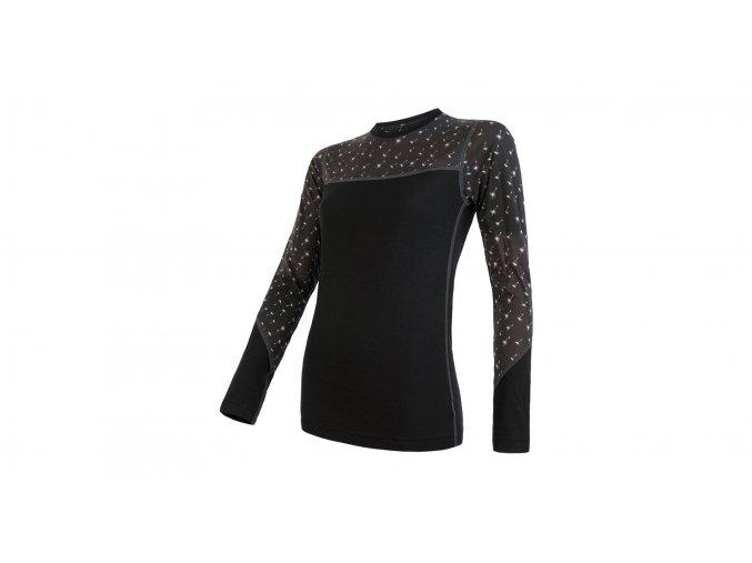 Sensor Merino Impress, dámské merino triko, dlouhý rukáv, černé