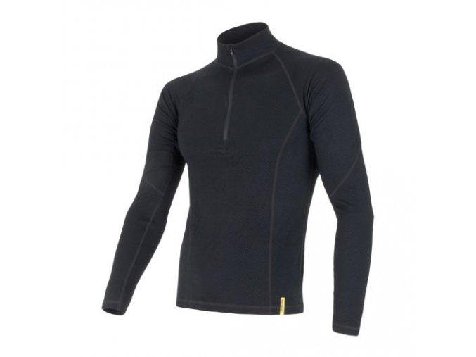 Sensor merino DF, pánské merino triko, dlouhý rukáv, zip, černá
