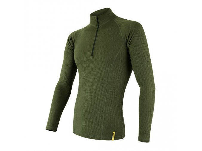 Sensor merino DF, pánské merino triko, dlouhý rukáv, zip, safari