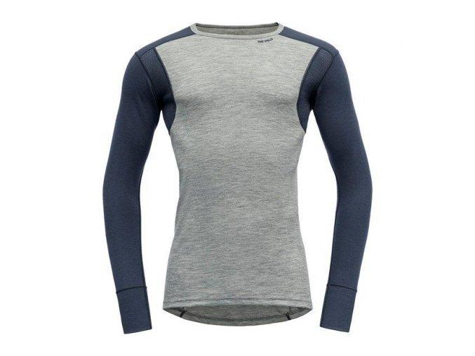 Devold Hiking Man Shirt Green Melange / night pánské merino triko dlouhý rukáv