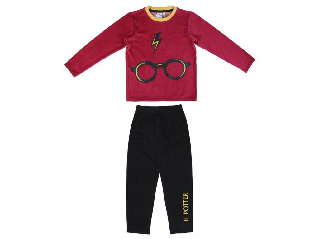 HARRY POTTER long pajamas velour cotton, red
