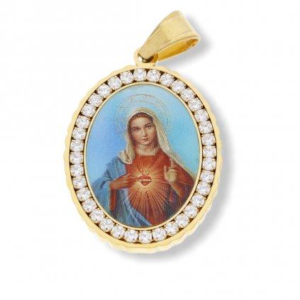 Přívěsek Madonka s krystalky Gold  + dárkové balení