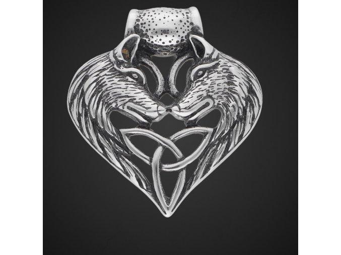 Ocelový přívěsek s řetízkem vlčí srdce