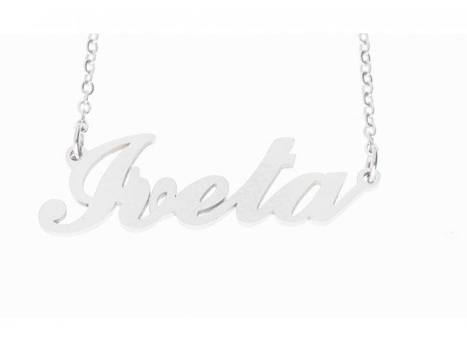 Přívěsek jméno  Iveta s řetízkem + dárkové balení