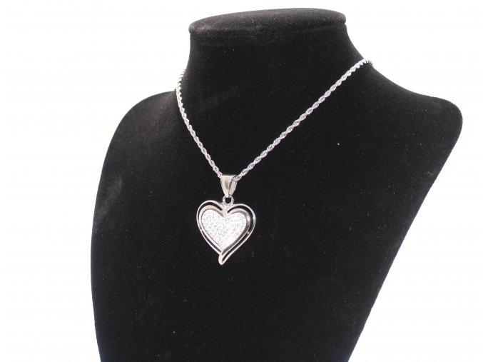 Ocelový přívěsek srdce se zirkony a řetízek