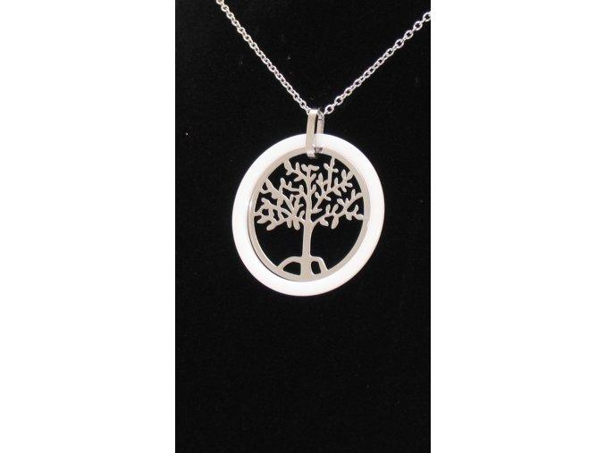 Přívěsek strom života v smaltovem kruhu s řetízkem