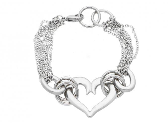 Ocelový náramek srdce