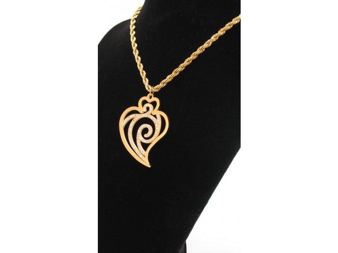 Ocelový přívěsek srdce s řetízkem ve zlaté barvě