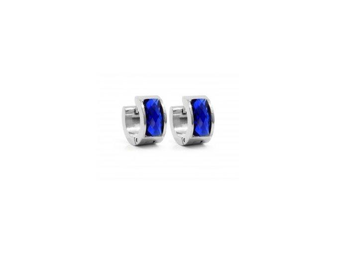 Náušnice ocelové se skleněným proužkem modrá  + dárkové balení