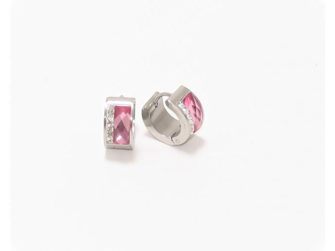 Náušnice ocelové se skleněným proužkem růžová
