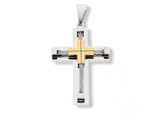 Ocelový přívěsek kříž z chirurgické oceli  + dárkové balení