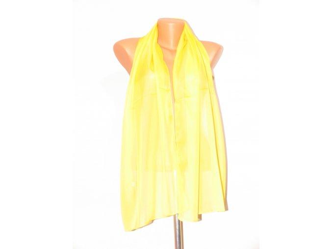 Šátek dlouhy jednobarevný 155x65 cm žlutý