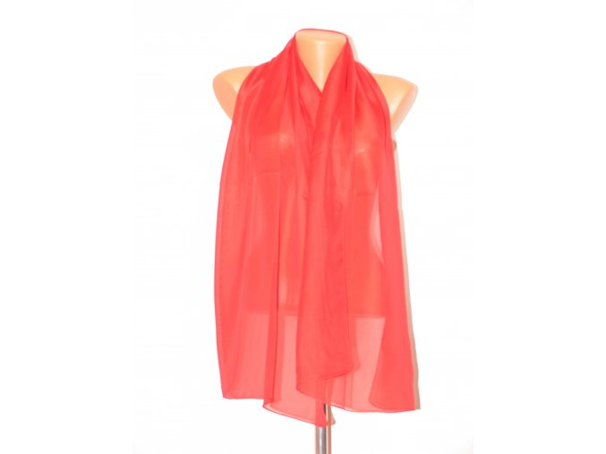 Šátek dlouhy jednobarevný 155x65 cm červený
