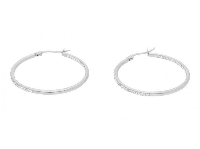 Ocelové náušnice kruhy s kamínky dvě velikosti  + dárkové balení