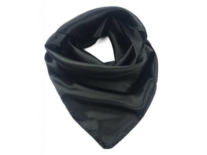 Saténový jednobarevný šátek 85 x 85 cm - černý