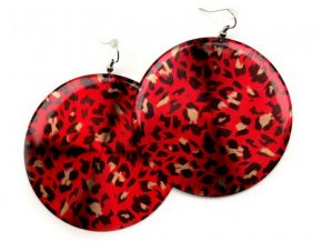vyr 898Nausnice plastove 65mm hladke leopardie cervene