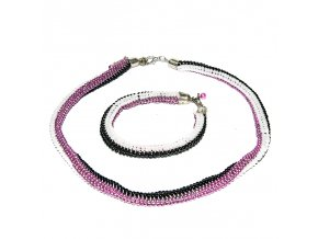 Pletená plastový náramek s náhrdelníkem