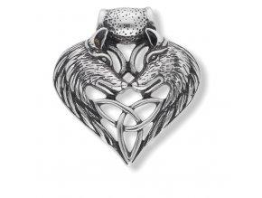 Ocelový přívěsek s řetízkem vlčí srdce  + dárkové balení