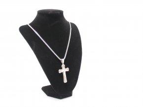 Ocelový kříž s kaminky a řetízkem v ceně