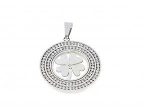 Přívěsek ocelový čtyřlístek v kruhu s krystaly  + dárkové balení