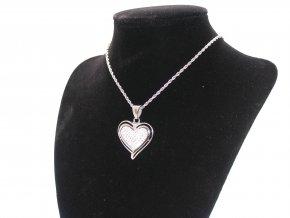 Ocelový přívěsek srdce se zirkony a řetízek + dárková krabička zdarma