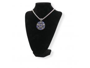 Přívěsek z chirurgické oceli, Pentagram s modrými zirkony