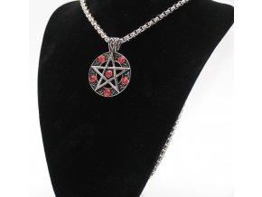 Přívěsek z chirurgické oceli, Pentagram s červenými zirkony
