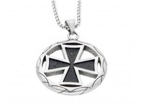 Přívěsek pentagram z chirurgické oceli maltezsky kříž  + dárkové balení
