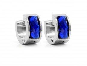 Náušnice ocelové se skleněným proužkem modrá