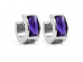 Náušnice ocelové se skleněným proužkem fialová